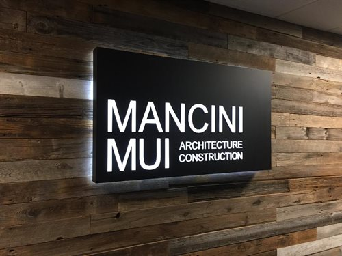 Mancini mui architect back lit front lit led stencil cut smithtown village of the brach st james stony brook port jefferson