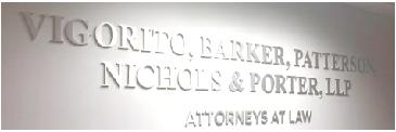 "Law firm Attorney sign1/4"" Thick, Water jet  cut brushed aluminum letters, stud mount, in reception area,  installed in Garden City,  Roosevelt Field"