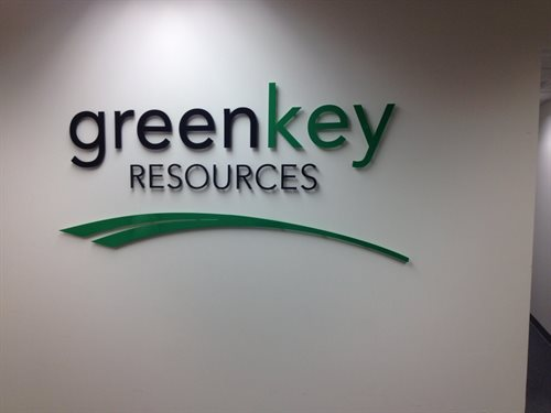 "Greenkey resources executive recruiter SIgn  custom, Laser jet cut  1/4"" thick acylic Logo and Letters, custom pms green and black pin / stud mounted"