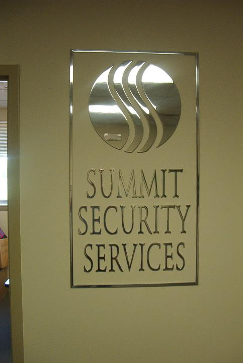 "summit security  Service, sign 1/4"" Thick, Polished Aluminum, Corporate Logo, stud mount, in reception area,  installed NYC, Melville, Uniondale, Hart"