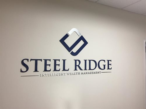 "Steel Ridge Wealth Management, 1/4"" thick custom, Water jet cut Natural Satin Aluminum and acylic Logo and Letters, custom pms blue silicone, double s"