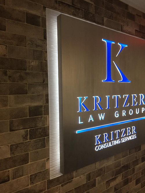 Kritzer law group,  Attorney Fabricates acrylic logo brushed aluminum led back and front lit smithtown village of the branch nesconsett lake grove
